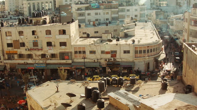 ws - main street in ramallah seen from above - ramallah stock videos and b-roll footage