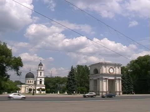 main street, kishiniev (chisinau), republic of moldova - moldova stock videos and b-roll footage
