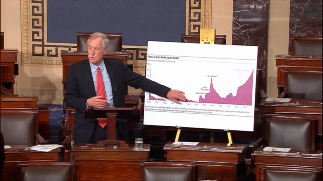 maine senator angus king argues in debate on the tax cuts and jobs act that one of his concerns was increasing the deficit using a chart that he said... - recession stock videos & royalty-free footage