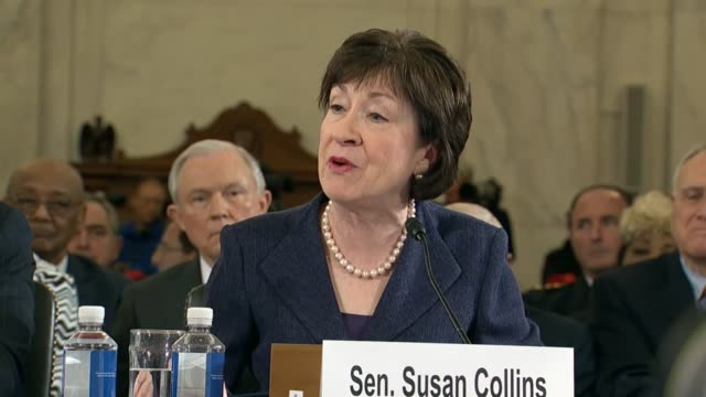 maine senator susan collins speaks in support of senator jeff sessions to be the next attorney general of the united states, noting his bipartisan... - arlen specter stock videos & royalty-free footage