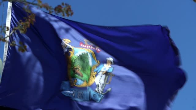 maine state flag waving in the breeze - maine stock videos & royalty-free footage