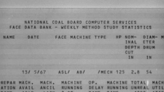 1969 MONTAGE Mainframe computer generating data reports / United Kingdom