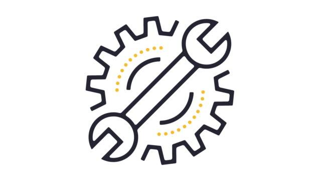 vídeos de stock e filmes b-roll de maintenance icon animation - design plano