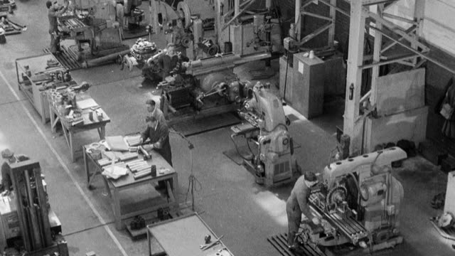 1954 montage maintenance tasks being performed inside a central repair workshop / united kingdom - 1954 stock videos & royalty-free footage