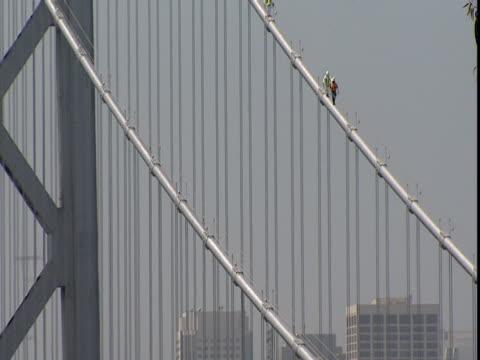 vídeos de stock e filmes b-roll de maintenance workers traverse a main cable of the san francisco bay bridge. - cable
