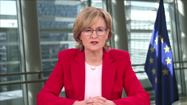 """mairead mcguinness saying the eu could be accused of """"vaccine internationalism"""" - global communications stock videos & royalty-free footage"""