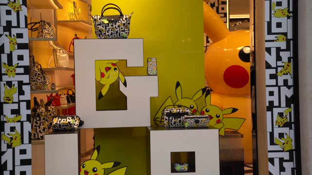 maison longchamp displays its pikachu, the mascot of the pokemon brand, collection at the longchamp champs elysees store in paris on october 28, 2020... - pokémon stock videos & royalty-free footage