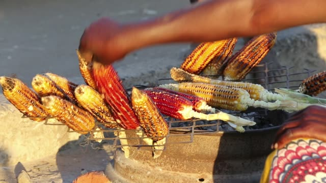 maize, the staple diet of malawi being grilled at an african market on the roadside in ckiwawa, malawi, africa. - malawi stock videos & royalty-free footage