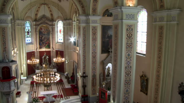 hd: majestic church interior - altar stock videos & royalty-free footage