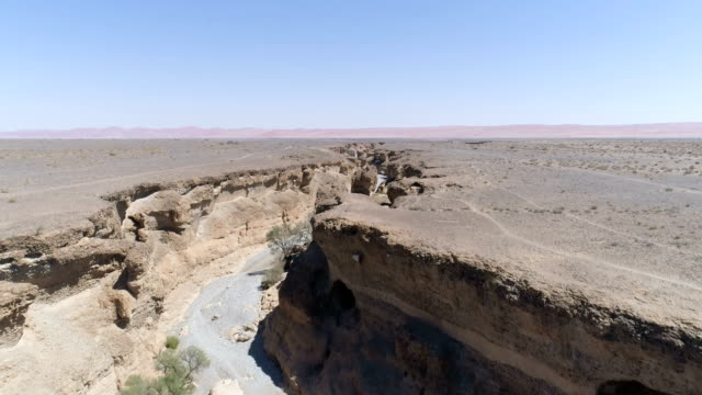 majestic gorge on namibian desert. aerial view - footpath stock videos & royalty-free footage