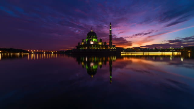 majestic sunrise timelapse at a mosque - putrajaya stock videos & royalty-free footage