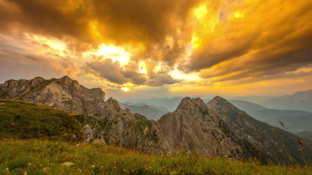t/l majestic sunset over the mangart mountain - slovenia stock videos & royalty-free footage