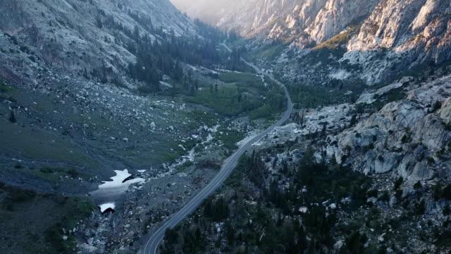 Majestic Sunset Streaking Through Mountain Pass in California