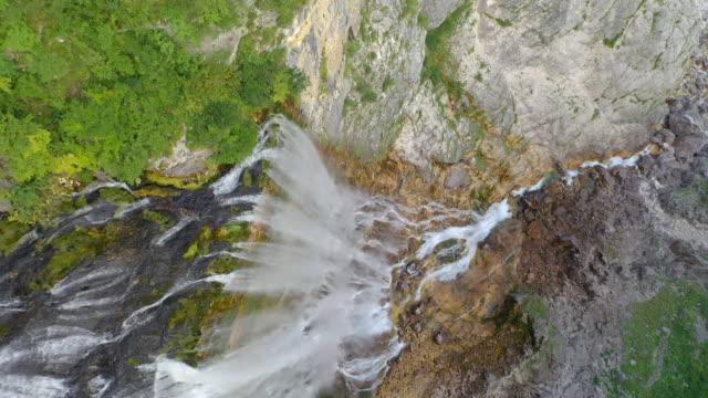 aerial majestic waterfall boka - julian alps stock videos and b-roll footage