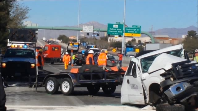 A major accident involving two El Paso TX sheriffs' vehicles a tractor trailer and an I10 construction vehicle and crew shut down I10 east The...