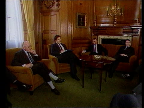 major blames house prices for recession itn lib london westminster lms norman lamont then chllr and other cabinet ministers seated tcms side john... - john major stock videos & royalty-free footage