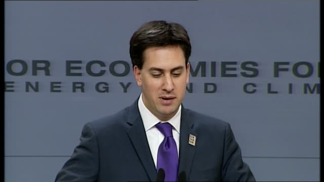 'Major Economies Forum on Energy and Climate' Ed Miliband press conference Ed Miliband MP press conference SOT On new commitments from other...