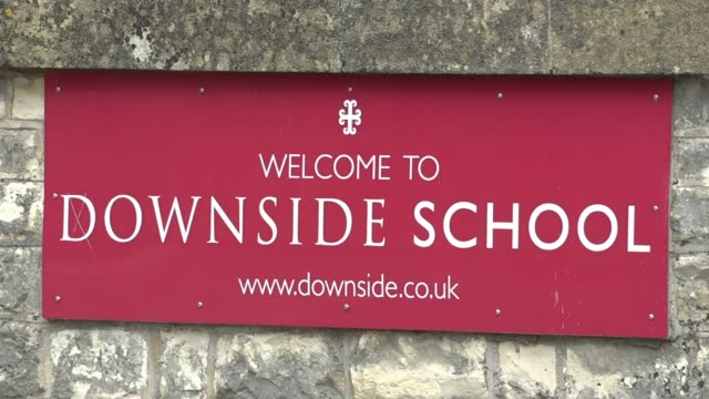 Major enquiry finds decades of sexual abuse at two leading Catholic schools ENGLAND Somerset EXT Close shot of Downside School entrance sign