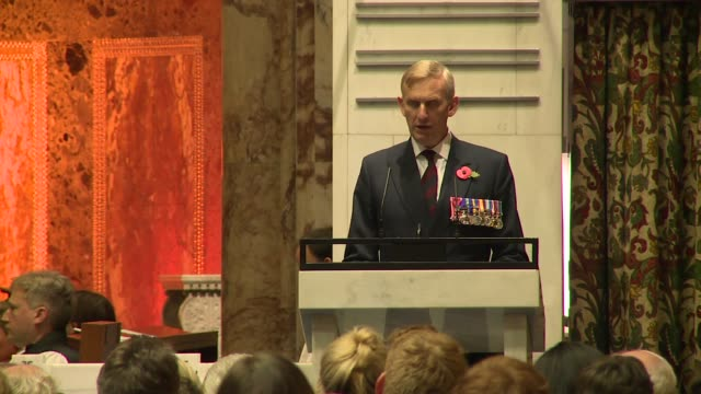 major general rj stanford reads the lesson - at remembrance sunday service at the guards' chapel on november 13, 2016 in london, england. - remembrance sunday stock videos & royalty-free footage