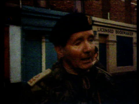 major general robert ford commander land forces northern ireland describes to reporter why paratroopers were ordered in to bogside area... - ロンドンデリー点の映像素材/bロール