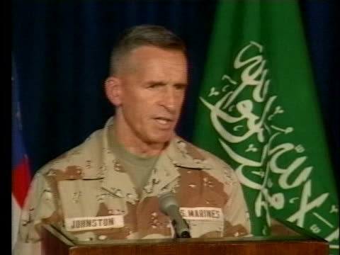 major general robert johnston of the united states central command speaks at a press conference in riyadh, saudi arabia. - united states department of defense stock videos & royalty-free footage