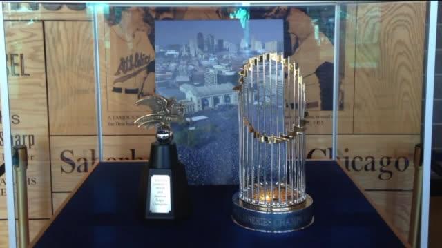 major league baseball world series trophy on display at the kansas city royals' kauffman stadium on april 3, 2016. - baseball world series stock videos & royalty-free footage