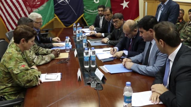 a major memorandum of understanding was signed by afghan government leaders and natoled resolute support leadership in kabul on august 11 signifying... - カブール点の映像素材/bロール
