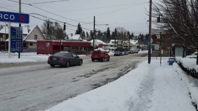major snowstorm buried portland under a foot of snow. oregon gov. kate brown declared a state of emergency wednesday due to the storm conditions. it... - portland oregon stock-videos und b-roll-filmmaterial
