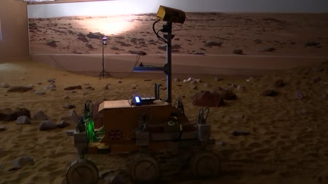 major tim peake controls simulated mars rover from international space station england hertfordshire stevenage int exomars robotic rover in mars... - stevenage stock videos and b-roll footage