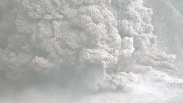 major volcanic eruption and ash cloud at mount sinabung - ash stock videos & royalty-free footage
