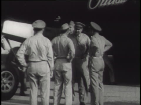 "u.s. major woodrow swancutt inspects the ""dave's dream"" b-29 superfortress crew before operation crossroads at bikini atoll. - bikini atoll stock videos & royalty-free footage"