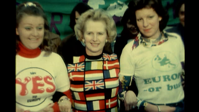 majority of conservative party members want eu exit bsp020695011 then conservative party leader margaret thatcher mp wearing a jumper patterened in... - referendum stock-videos und b-roll-filmmaterial