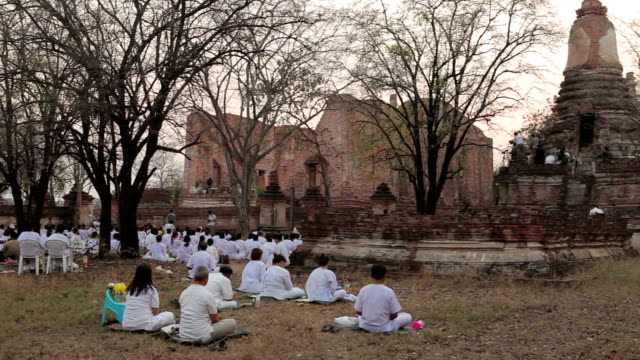 makabucha day in wat mahaeyong ayutthaya, thailand - ayuthaya province stock videos and b-roll footage