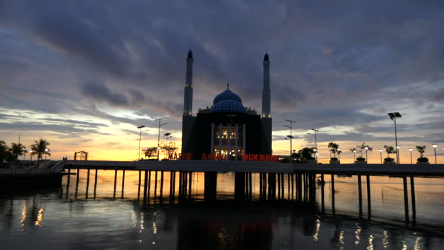 makassar floating mosque. - barry kusuma stock videos and b-roll footage