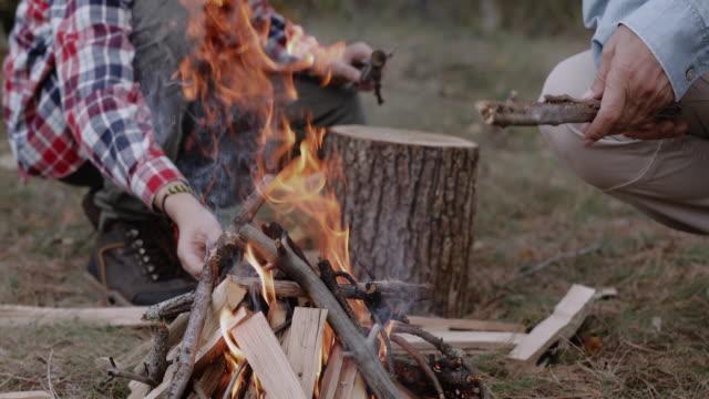 machen sie einen lagerfeuer im wald - ländliches motiv stock-videos und b-roll-filmmaterial