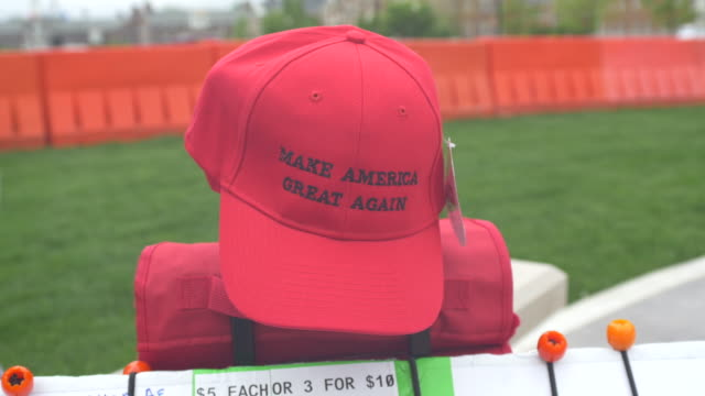 Make America Great Again hats for sale before 2016 Republican presidential candidate Donald Trump speaks during a campaign stop and town hall at the...