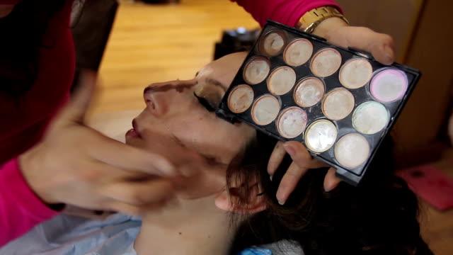 Make-Up Artist Preparing Model Backstage