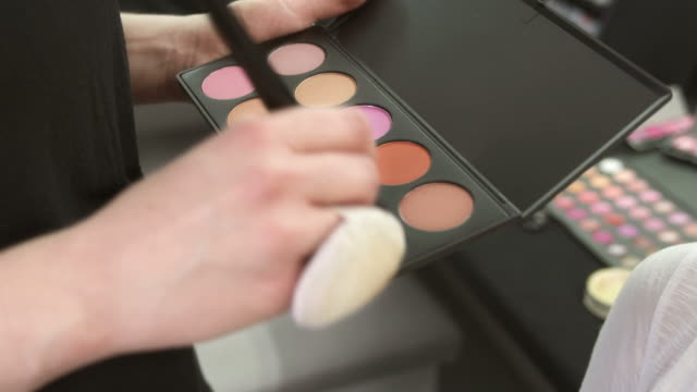 hd: make-up artist using eyeshadow palette - blusher make up stock videos and b-roll footage