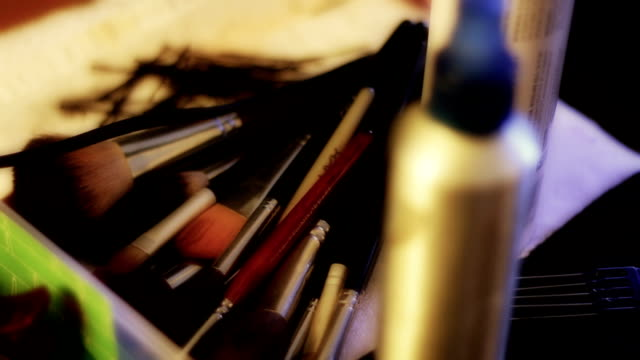 Makeup Artist's Brushes Lying on Table