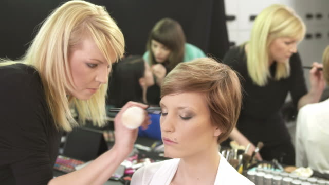 hd: makeup artists preparing models - blusher make up stock videos and b-roll footage