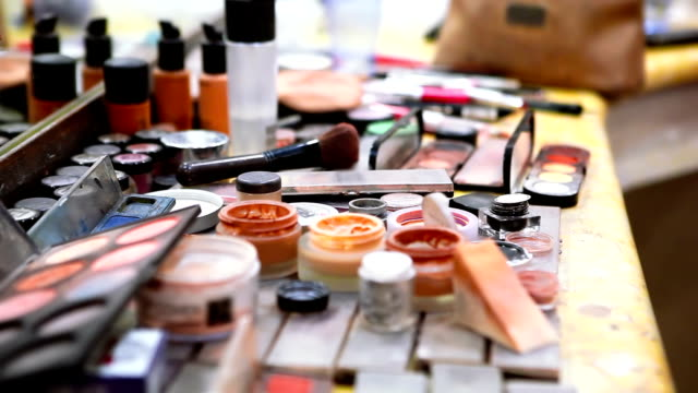 makeup artist's working place - blusher make up stock videos and b-roll footage
