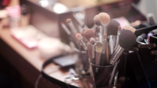 makeup brush set and cosmetics - stage make up stock videos and b-roll footage