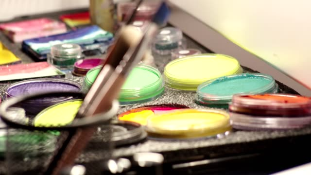 make-up brushes and body paint - stage make up stock videos and b-roll footage