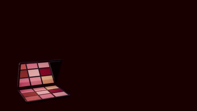 makeup eyeshadow palette opens with copy space on a dark background - blusher stock videos & royalty-free footage