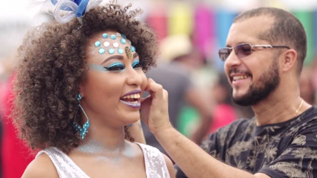 makeup for carnival - earring stock videos & royalty-free footage