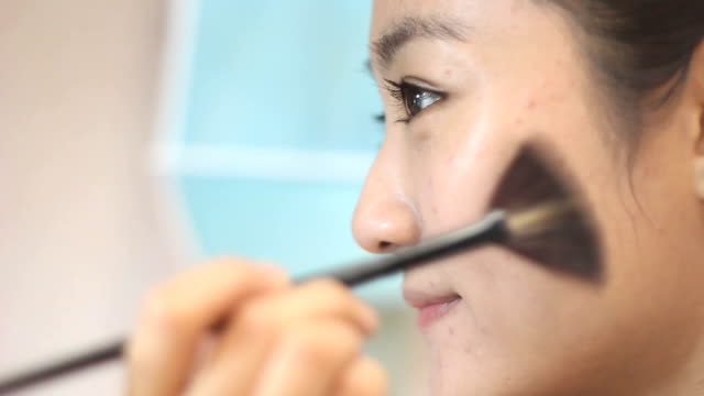 make-up girl - blusher make up stock videos and b-roll footage