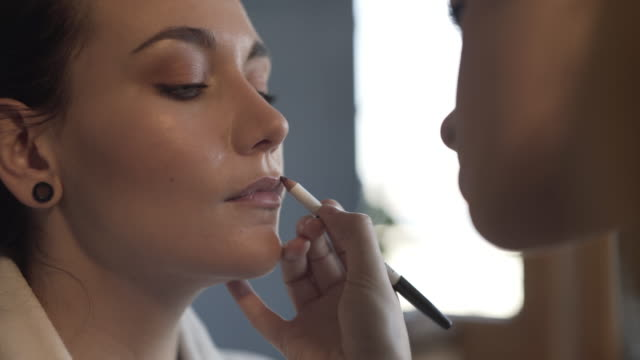 make-up makeover - lip liner stock videos & royalty-free footage