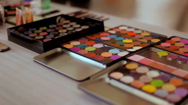 makeup palettes dolly shot - blusher make up stock videos and b-roll footage
