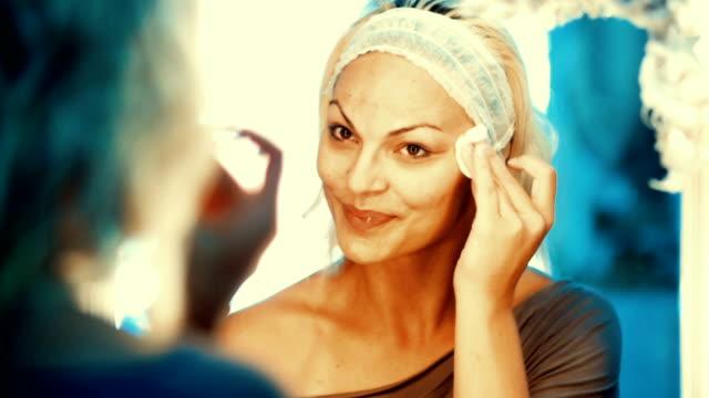 Makeup removal.