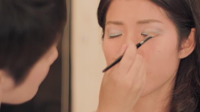 make-up salon.eye liner,eye shadow. - pampering self stock videos and b-roll footage